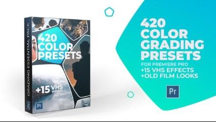 420个调色预设,15个VHS老录像带+5个复古老胶片效果,15个噪点视频+10个电影划痕视频叠加素材